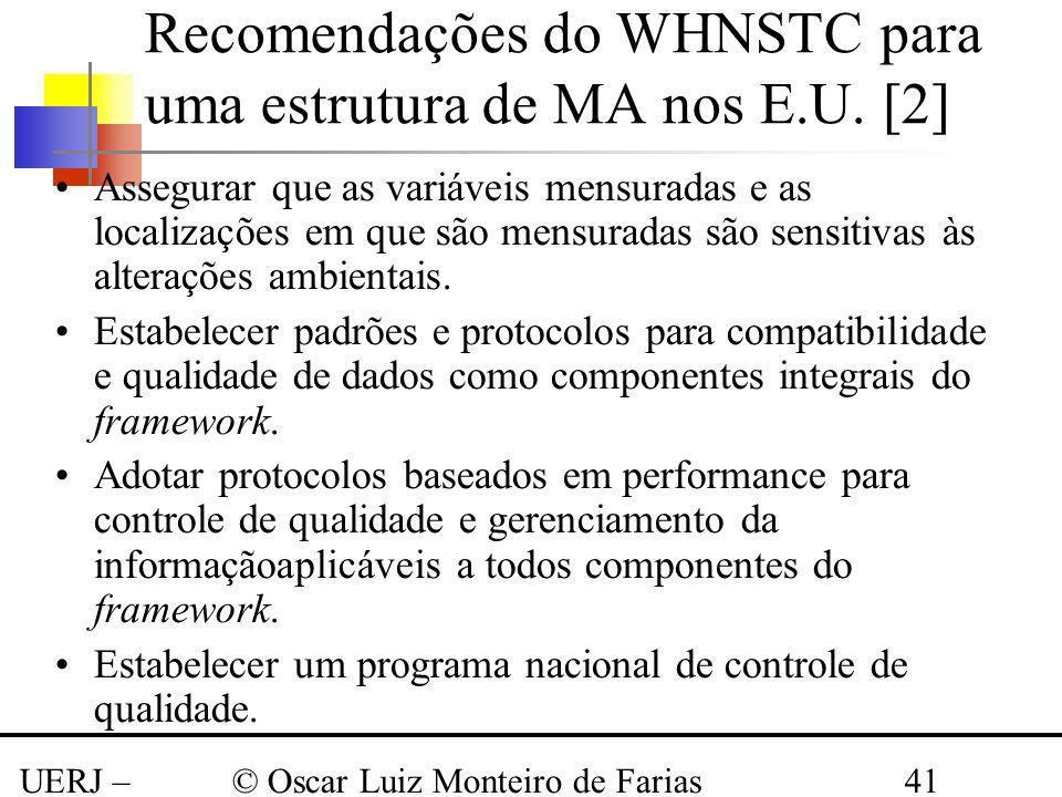 Recomendações do WHNSTC para uma estrutura de MA nos E.U. [2]